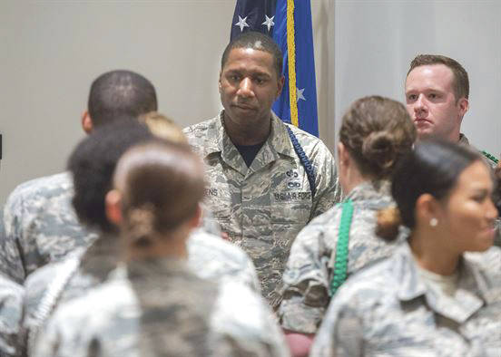 Submitted photo Master Sgt. Michael J. Stevens, United States Air Force School of Aerospace Medicine Military Training Flight chief, talks with a group of students on Wright-Patterson Air Force Base July 7. Stevens was named as one of the Air Force's 12 Outstanding Airmen of the Year.