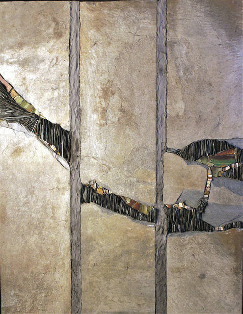 """Submitted art Unbroken, Uncovered, Undone, Mixed Media Mosaic - slate, broken tile, cut stone, and smalti attached with dark gray thinset on wedi board, 24"""" x 18"""" by Peggy Schuning."""