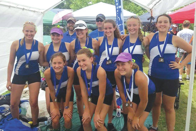 Dayton Boat Club's women's high school eight claimed first place in the Ann Arbor Regatta, July 22 in Ann Arbor, Michigan. (Front, from left): Aidah Shuttleworth, Aubrey Trimbach, Kyla Boehringer; (second row): Julia Hummel, Brianna Gracey, Ella Waldspurger, Audrey Sholiton, Kara Alexander, Elena Muir; (back row): coaches Mitch Vossler and Joe Connelly.