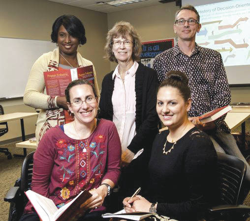 Submitted photo The College of Education and Human Services offers a graduate-level program to train students as certified program evaluators. The program includes, clockwise, from top left: Amber Daniel, Suzanne Franco, Jason Farkas, Daniella DiMasso-Shininger and Erin Lunday.