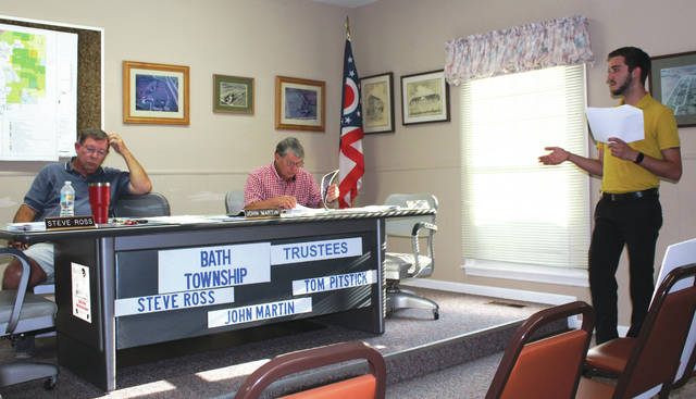 Linda Collins | Fairborn Herald The Province General Manager Thomas Genna presenting signage and lighting proposal to Bath Township Trustees.