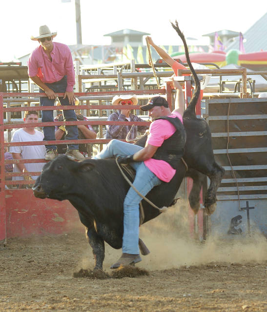 Barb Slone | Greene County News Fairborn Firefighter Colton Trego fights to stay on a bull during the novice division of the Greene County Fair's rodeo. Trego rode to help bring awareness to breast cancer.