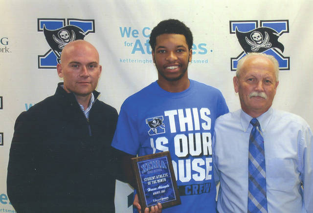 Hasan Akinyele was chosen as the Edward Jones Investments Athlete of the Month for August for Xenia High School. This award is being sponsored by the office of Mike Reed at Edward Jones Investments of Xenia, serving Xenia, Jamestown, Cedarville and surrounding areas. A senior on the varsity football team, Akinyele is an energetic and outstanding student who participates in many clubs and organizations. He goes out of his way to help with service projects and activities at the high school and in the community. In August, Akinyele recorded 24 tackles in games against Beavercreek and Troy.