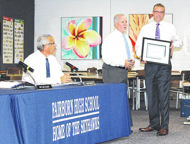 Linda Collins | Fairborn Herald Fairborn City Schools expressed gratitude for Kroger during the latest regular school board meeting Oct. 5 for its role in contributing toward the district's recent food drive.