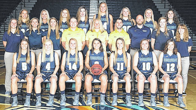 Submitted photo Cedarville University welcomes teams this weekend for the Midwest Region Crossover. Members of the 2017-18 Cedarville University women's basketball team are (seated left-to-right) Ashlyn Huffman, Baylee Bennett, Kelly Poole, Abby Wolford, Regina Hochstetler, Jamie Dodane, Anna DeFilippo. (middle row l-to-r) Student Assistant Abby Roessler, Student Assistant Katie Carmichael, Assistant Coach Jordan Sok, Assistant Coach Stephen Buettell, Head Coach Kari Hoffman, Assistant Coach John Leonzo, Assistant Coach Jimmy Hoffman, Student Athletic Trainer Sydney Martin, Student Athletic Trainer Leah Reeder. (back row l-to-r) Kaitlyn Holm, Ellie Juengel, Annabelle Hinds, Taylor Buckley, Breanne Watterworth, Emily Williams, Cameron Peek, Stevie Johnting.