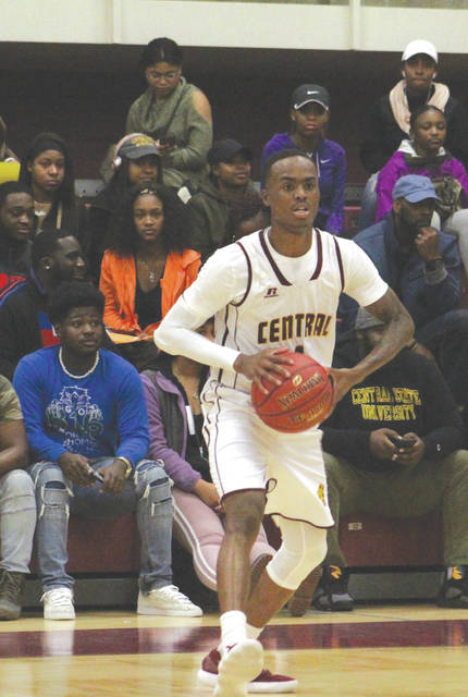 Davone Daniels scored a game-high 21 points in Central State's men's college basketball win over Lake Erie on Nov. 18 in the Beacom/Lewis Gymnasium in Wilberforce.