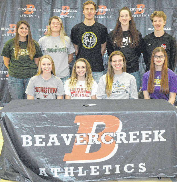 Scott Halasz | Greene County News Several Beavercreek athletes signed their National Letters of Intent during a ceremony at the high school Nov. 8. Front row (left to right) Averi McCarthy, Rosalie (Rosie) Devine, Lexi Moore, and Sara Skaggs. Back row (left to right) Natasha Price, Raidyn Johnson, Jon Alessandro, Haley Hutchins, and Parker Mikesch.