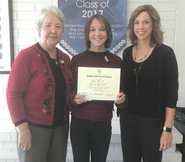 Submitted photo The Daughters of the American Revolution Rebecca Galloway Chapter awarded Fairborn High School senior Aleea Ratcliff with the Good Citizen award. Pictured are Marti Riddle (Daughters of the American Revolution), Ratcliff and Fairborn High School Principal Amy Gayheart