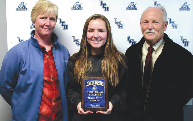 Morgan Bryant was chosen as the Edward Jones Investments Athlete of the Month for October for Legacy Christian Academy High School. This award is being sponsored by the office of Mike Reed at Edward Jones Investments of Xenia, serving Xenia, Jamestown, Cedarville and surrounding areas. Morgan, a senior on the volleyball team for four years, is also on the tennis team. She is a busy volunteer at her church in Wilmington with a positive attitude and grade-point average of 3.95.