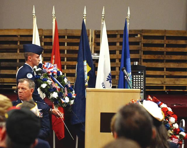 The wreath was presented during the ceremony.