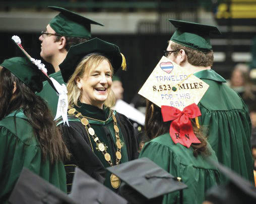 Submitted photo President Cheryl B. Schrader presided over her first commencement ceremony at Wright State University on Dec. 16.