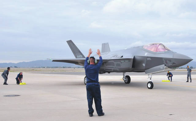 Submitted photo Lockheed Martin and Japanese Air Self-Defense Force personnel work together to taxi in the arrival of the first foreign military sales F-35A onto the 944th Fighter Wing ramp Nov. 28, 2016, at Luke Air Force Base, Ariz. The arrival marked the next step for the international F-35 training program.