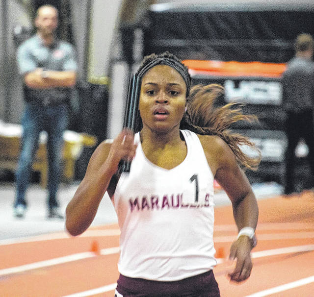 Submitted photos Sophomore Mysia Wallace tied for first place with teammate Iesha Lockhart in the 300-meter dash, Dec. 9 in Findlay.
