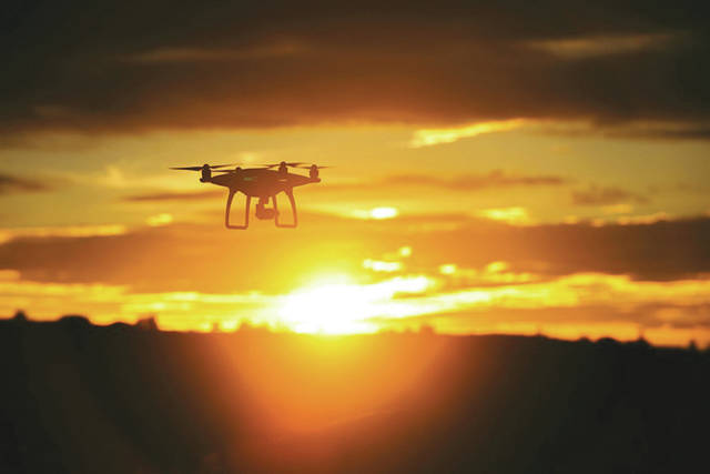 Submitted photo A consumer drone flies during sunset.