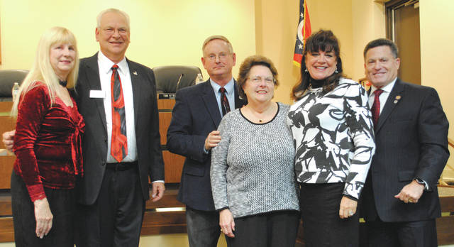Exiting Fairborn Mayor Dan Kirkpatrick was honored for his service by the city, Senator Bob Hackett and State Representative Rick Perales. Kirkpatrick's wife, Norma, was also honored for her support through his years of service.