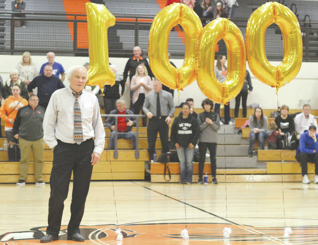Beavercreek girls varsity basketball coach Ed Zink was recognized for coaching in his 1,000th game, Jan. 10 in the aptly named Ed Zink Fieldhouse at Beavercreek High School.