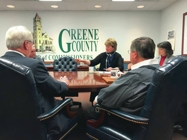 Anna Bolton | Greene County News Greene County Commissioner Alan Anderson (left, front), Sheriff Gene Fischer, Fairborn Municipal Court Judge Beth Cappelli, Risk Management Director Lisa Hale and Commissioner Bob Glaser discuss future jail needs during a Jan. 30 work session at 69 Greene Street.