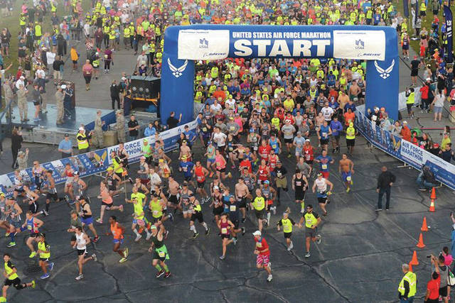 Submitted photo Runners take off for the start of the 21st annual U.S. Air Force Marathon Sept. 16, 2017 at Wright-Patterson Air Force Base. Over 13,500 runners participated in a 5K, 10K, half and full marathon supported by more than 2,400 volunteers.