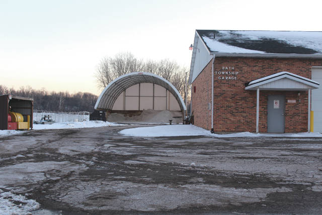 Linda Collins | Fairborn Herald The Bath Township garage, where the salt is stored. The road crew has stacked the salt to one side of the bin in anticipation of the 400 additional tons of salt that Road Supervisor Vern Heizer ordered this week.