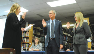 School board members sworn-in, officers elected