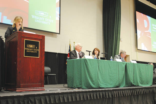 Wright State University President Cheryl Schrader and the panel that included Walt Branson, vice president for finance and operations and chief business officer; Tina Heigel, university controller; and Doug Fecher, chairman of the Wright State Board of Trustees and CEO of the Wright-Patt Credit Union.