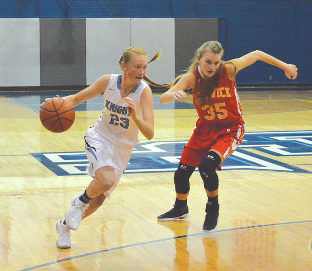 Emma Hess (left) and the rest of the Legacy Christian Academy girls high school basketball team are the top seed, in the Division IV sectional basketball tournament this season.