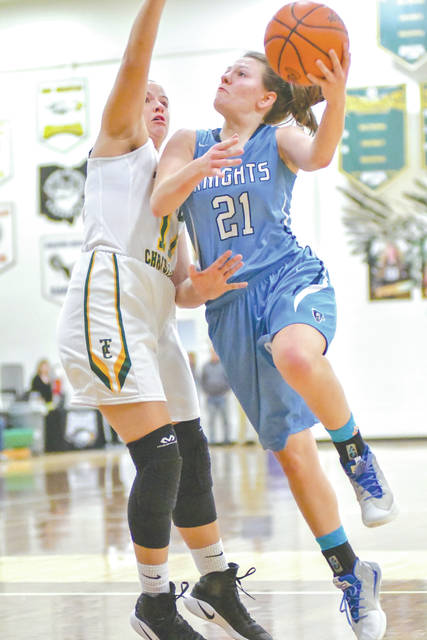 In a recent girls high school basketball game at Troy Christian, Kathleen Ahner scored a team-high 11 points in the 42-39 road loss to the Metro Buckeye Conference foe. Ahner's uniform number had been incorrectly listed on the MBC website, and she was referred to throughout a recent story as her teammate, Maddy Combs. A 5-foot-7 freshman guard, Ahner leads the Knights in assists this season with 3.1 per game. She has also averaged 7.7 points and 5.2 rebounds per game during the regular season.