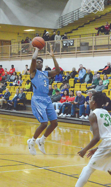 Fairborn's Shaunn Monroe puts up a jump shot against Northmont, during first-half action Feb. 23 in the Butler Student Activities Center. Monroe led the Skyhawks with 13 points scored in the Division I sectional tournament first-round loss.