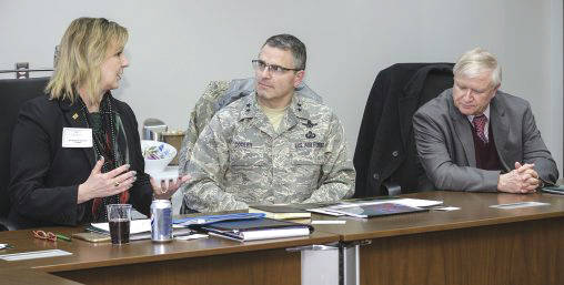 Submitted photo Wright State President Cheryl B. Schrader (left) is pictured with Maj. Gen. William Cooley, commander of the Air Force Research Laboratory; and Jack Blackhurst, executive director of AFRL, during a meeting between Air Force Research Laboratory and university administrators and deans.