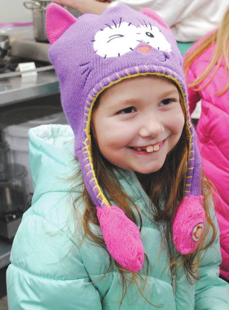 Whitney Vickers   Greene County News Samantha Hicks, now 7, was diagnosed with celiac disease when she was 5-years-old. She was all-smiles at the Spark Gluten Free open house hosted in January to celebrate the opening of the gluten-free kitchen incubator.