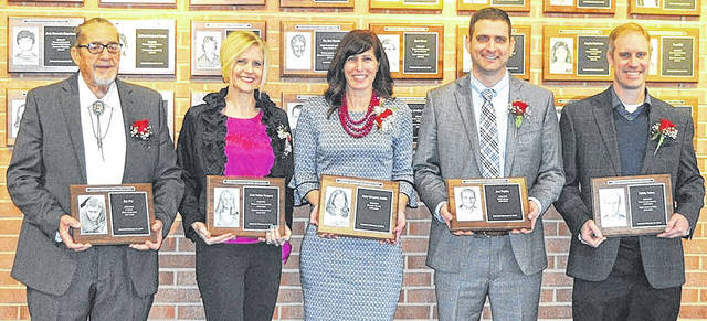 Submitted photo Cedarville University Athletic Hall of Fame inductees include: Jay Fry, Erin Nehus Vergara, Amy Gregory Smith, Jon Waldo and Eddie Nehus.