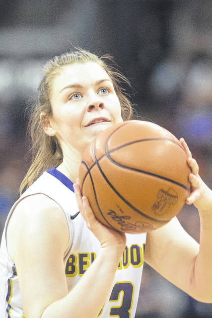 Bellbrook senior Bekah Vine eyes the basket during a first-half free throw attempt. Vine led the Golden Eagles with 11 points scored in a 47-40 loss to Gates Mills Gilmour Academy in a Division II girls basketball state semifinal game Friday, March 16 at Value City Arena in the Schottenstein Center in Columbus.