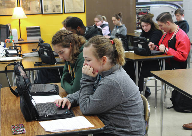 Anna Bolton | Greene County News Greene County Career Center students use their laptop-tablet devices during class instruction March 7.