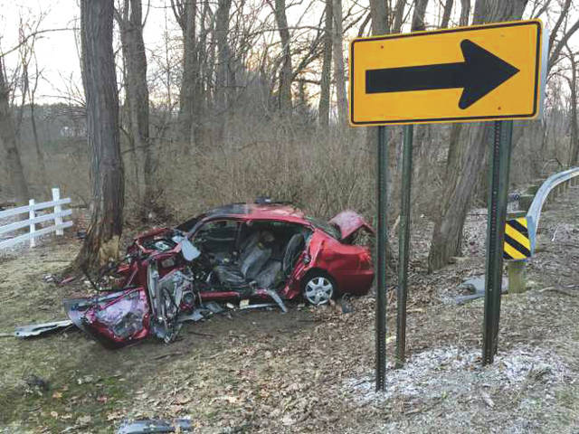 Submitted photo A fiery crash took place March 13 on the 7100 block of Fishburg Road near Bath Road, leaving one individual dead at the scene.