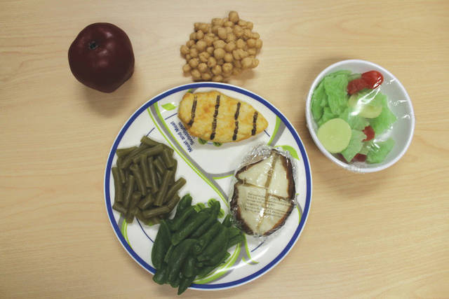 Submitted photo The United States Department of Agriculture recommends that each meal should include whole grains, lean protein and half of your plate should be vegetables and fruits.