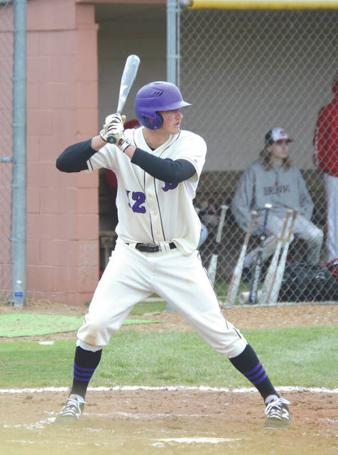 Nolan Sizemore of Bellbrook digs in at the plate during a recent boys high school baseball game. The Xenia Gazette, Fairborn Daily Herald and Beavercreek News-Current will recognize the player with the top baseball batting average at the end of the 2018 season.