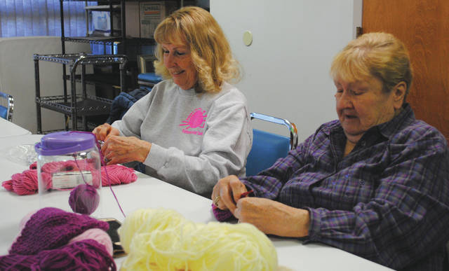 Whitney Vickers | Greene County News The Happy Hookers meets weekly to crochet various items that will be donated. Items go to places such as local hospitals, homeless shelters, head start facilities and Wright-Patterson Air Force Base.