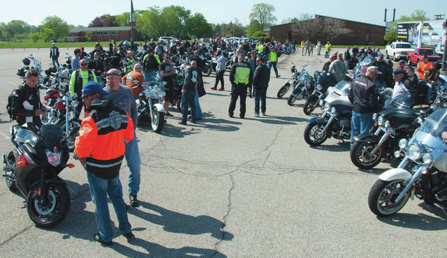 Submitted photo Wright-Patterson Air Force Base welcomed more than 300 military and civilian motorcycle enthusiasts here for Motorcycle Safety Day May 11. Riders heard from guest speakers on a wide range of safety topics and many took part in a 38-mile group ride, along with activities including a slow ride contest.