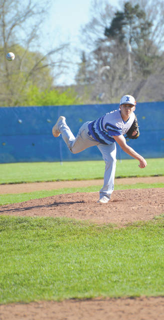 Xenia junior Blayne Dudley pitched 6 1/3 innings — in relief — to lead the Buccaneers to a come-from-behind win, Tuesday May 1 over visiting Fairborn.