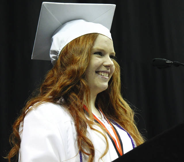 Salutatorian and veterinary science senior Hailey Bowman from Beavercreek High School gives a tribute to the class.