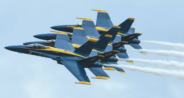 Submitted photo The U.S. Navy Flight Demonstration Squadron, the Blue Angels, fly in a right-echelon formation during their Tampa Bay AirFest 2018 performance at MacDill Air Force Base, Fla., May 13. During Mother's Day weekend, more than 150,000 attendees viewed static displays and aerial demonstrations from civilian and military performers.