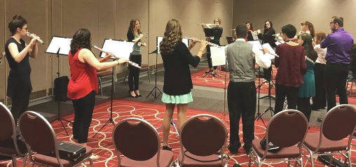 Submitted photo Wright State flute players warming up before performing at the National Flute Association Convention, the largest annual flute event in the world.