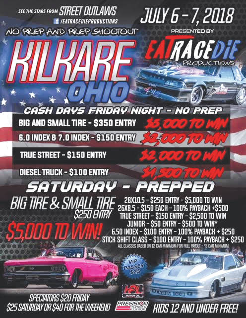 Mike Murillo (top right), Scott Taylor (bottom right) and Dean Karns Jr. (bottom left) are among the nation's top grudge match drag racers scheduled to compete Friday and Saturday, July 6-7 at Kil-Kare Dragway.