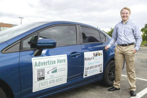Submitted photo Jacob Hunkeler, who is majoring in management information systems, runs an advertising company out of his home using car magnets, bar codes and strategic driving to deliver commercial messages.