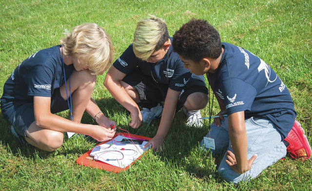 Submitted photo STEM Aerospace campers from left: Sam Theil, Rylen Dellinger and Alex Grubb explore solar energy in a hands on activity at a two-day STARBASE camp for seventh and graders on Wright-Patterson Air Force Base.