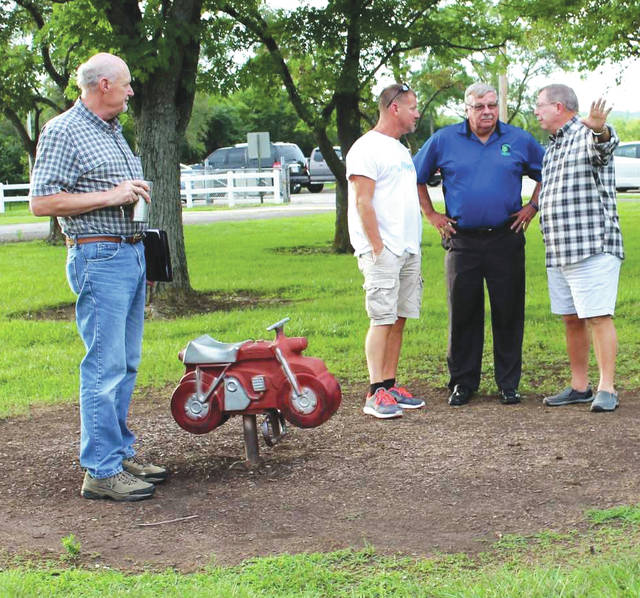Linda Collins | Greene County News Bath Township officials met with the director of Greene County Parks and Trails to discuss a plan to replace worn playground equipment at a local park.