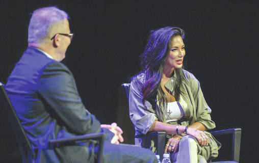 Submitted photo Nicole Scherzinger, who attended Wright State from 1996 to 1999, gave a talk to students and received the 2017 Alumna of the Year Award during a special program in the Festival Playhouse on Aug. 27.