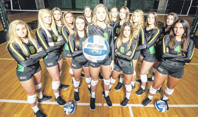 Wright State University volleyball team includes: Jenna Story, Lainey Stephenson, Abby Barcus, Ellee Ruskaup, Taylor Gibson, Mallory Ladd, Natalie Santana, Hannah Colvin, Alannah Lemming, Grace Hauck, Celia Powers, Bailey Wheatley, Teddie Sauer, Veerle Van Oosterom. Head coach is Allie Matters.