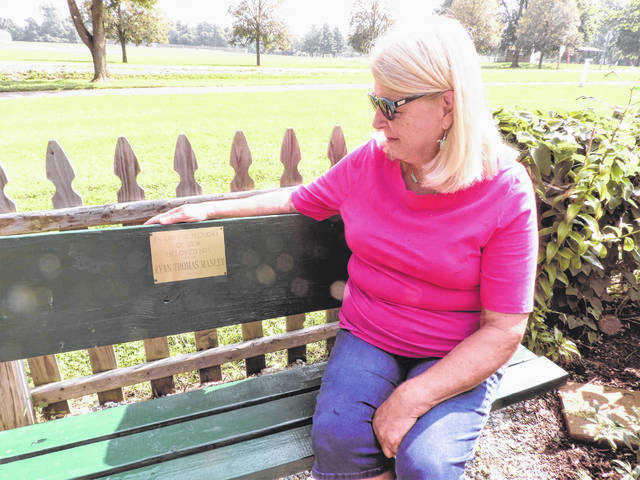 Submitted photos Sharon Manley of Beavercreek remembers her late son, Ryan Manley, in the butterfly gardens at James Ranch Park.