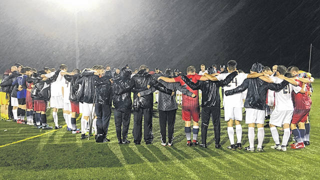 Rain didn't stop Cedarville University's men's soccer team from winning, Sept. 8 at the Athletes in Action Sports Complex in Xenia.